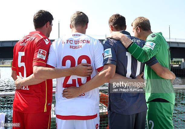 Benjamin Kessel Felix Kroos Maximilian Thiel and Jakob Busk of 1 FC Union Berlin during the presentation of the new shirts of Union Berlin on June 25...