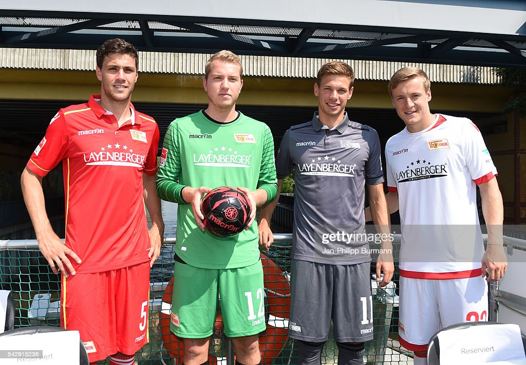 Benjamin Kessel, Jakob Busk, Maximilian Thiel and Felix Kroos of 1 FC Union Berlin during the presentation of the new shirts of Union Berlin on june 25, 2016 in Berlin, Germany.