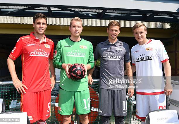 Benjamin Kessel Jakob Busk Maximilian Thiel and Felix Kroos of 1 FC Union Berlin during the presentation of the new shirts of Union Berlin on june 25...