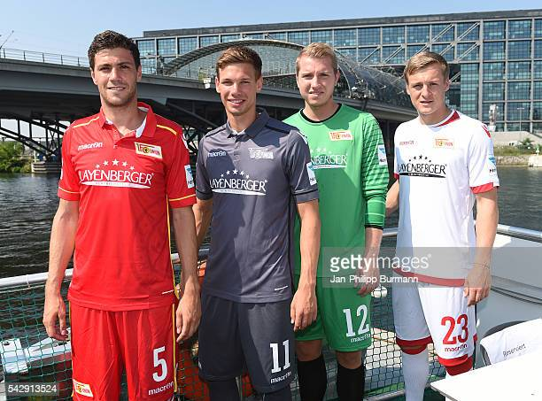Benjamin Kessel Maximilian Thiel Jakob Busk Felix Kroos of 1 FC Union Berlin during the presentation of the new shirts of Union Berlin on June 25...