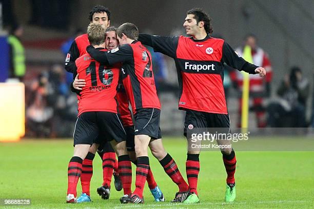 Benjamin Koehler of Frankfurt celebrates the first goal with Christoph Spycher Selim Teber Sebastian Jung and Halil Altintop during the Bundesliga...