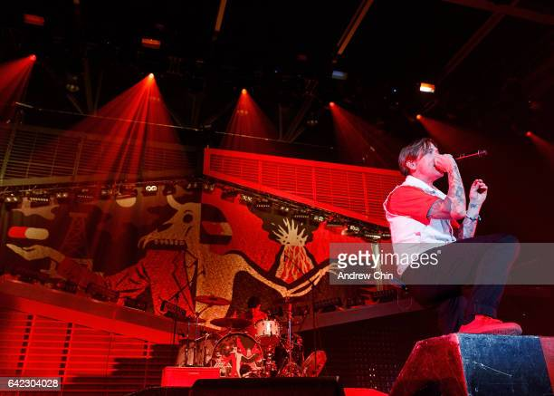 Benjamin Kowalewicz of Billy Talent performs on stage at Abbotsford Centre on February 16 2017 in Abbotsford Canada