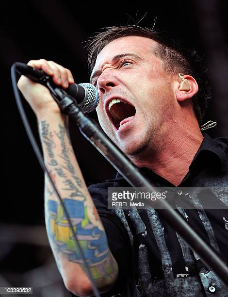 Benjamin Kowalewicz of the Canadian band Billy Talent performs on stage at Day 5 of The Sziget Festival on August 15 2010 in Budapest Hungary