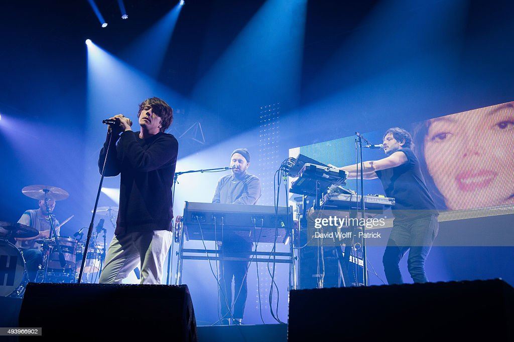 Benjamin Lebeau and Guillaume Briere from The Shoes perform at Le Zenith on October 23 2015 in Paris France