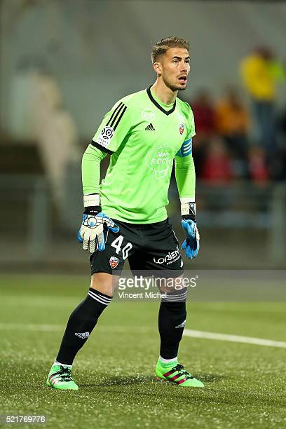 Benjamin Lecomte of Lorient during the French Ligue 1 between Lorient and Toulouse at Stade du Moustoir on April 16 2016 in Lorient France
