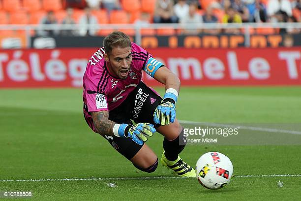 Benjamin Lecomte of Lorient during the Ligue 1 match between FC Lorient and Olympique Lyonnais at Stade du Moustoir on September 24 2016 in Lorient...