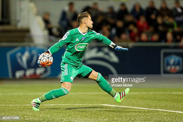 Benjamin Lecomte of Lorient during the semifinal French Cup between Lorient and Paris SaintGermain at Stade du Moustoir on April 19 2016 in Lorient...