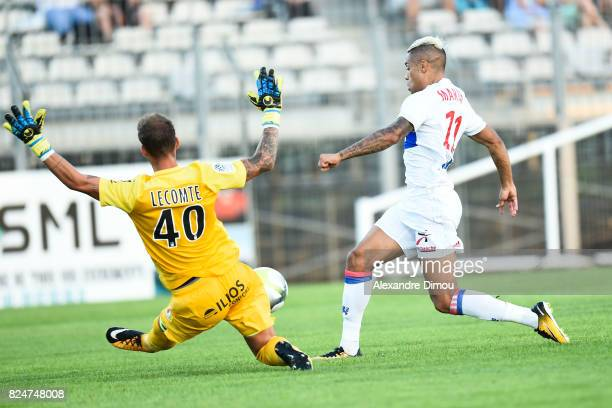 Benjamin Lecomte of Montpellier and Mariano Diaz of Lyon during the Friendly match between Montpellier Herault and Olympique Lyonnais on July 30 2017...
