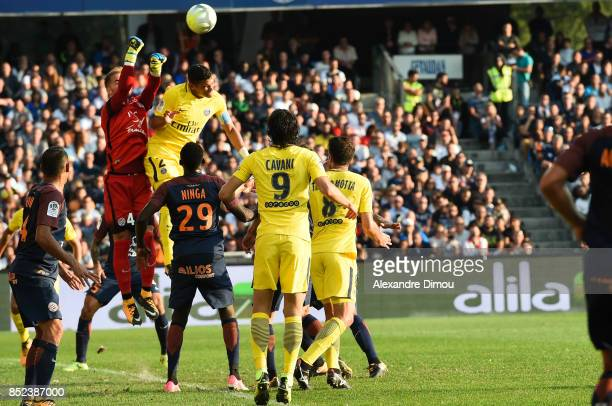Benjamin Lecomte of Montpellier and Thiago Silva of PSG during the Ligue 1 match between Montpellier Herault SC and Paris Saint Germain at Stade de...