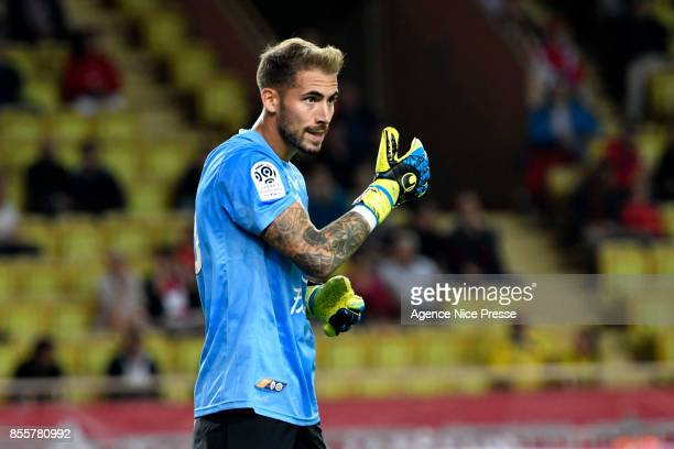 Benjamin Lecomte of Montpellier during the Ligue 1 match between AS Monaco and Montpellier Herault SC at Stade Louis II on September 29 2017 in Monaco