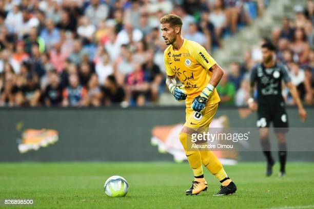 Benjamin Lecomte of Montpellier during the Ligue 1 match between Montpellier Herault SC and SM Caen at Stade de la Mosson on August 5 2017 in...