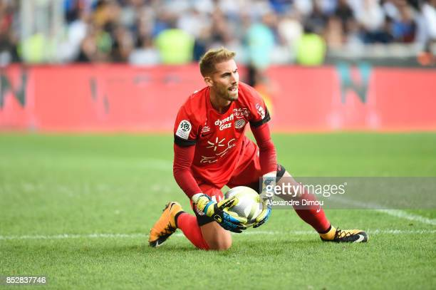 Benjamin Lecomte of Montpellier during the Ligue 1 match between Montpellier Herault SC and Paris Saint Germain at Stade de la Mosson on September 23...