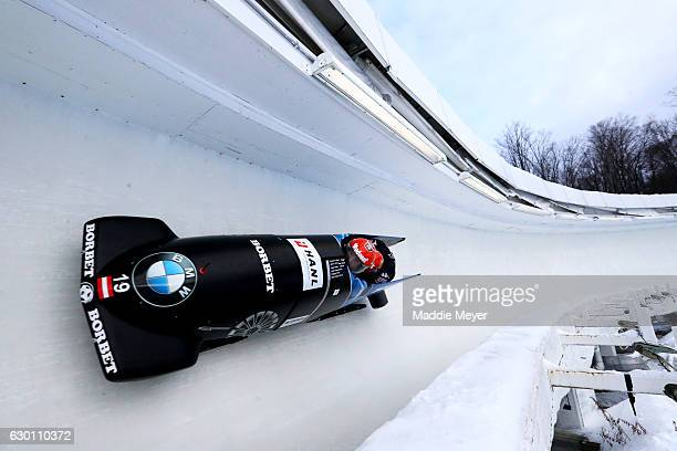 Benjamin Maier and Markus Sammer complete their second run during day 1 of the 2017 IBSF World Cup Bobsled Skeleton at Lake Placid Olympic Center on...