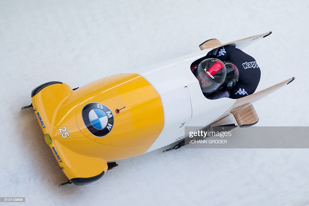 Benjamin Maier and Markus Sammer of Austria compete during the third run of the two-men Bobsleigh event of the Bobsleigh and Skeleton World Championships in Innsbruck/Igls, Austria, February 14, 2016. / AFP / APA / Johann Groder / Austria OUT