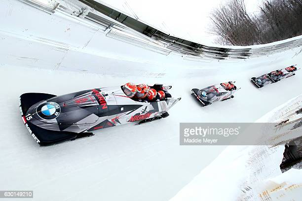 Benjamin Maier Stefan Laussegger Markus Sammer and Danut Ion Moldovan of Austria compete in their second run during day 2 of the 2017 IBSF World Cup...