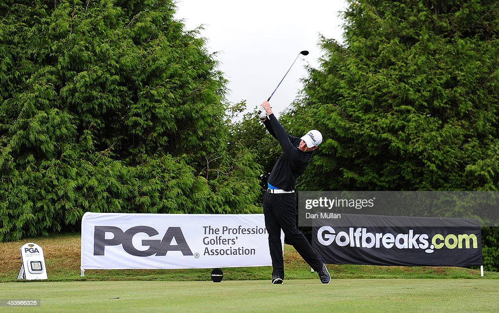 Benjamin Martin of Exeter Golf Country Club plays a shot on the 1st hole during day three of the Golfbreakscom PGA Fourball Championship at St...