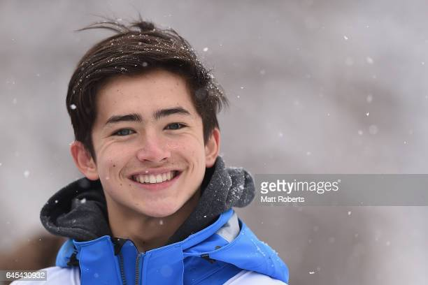 Benjamin Matsumoto of Australia looks on during the men's freestyle moguls on day nine of the 2017 Sapporo Asian Winter Games at Sapporo Bankei Ski...