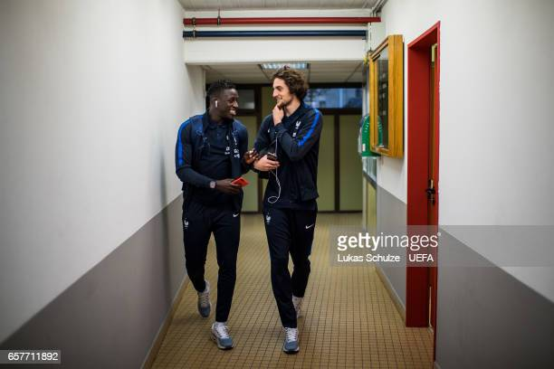 Benjamin Mendy and Adrien Rabiot arrive prior to the FIFA 2018 World Cup Qualifier between Luxembourg and France at Stade Josy Barthel on March 25...