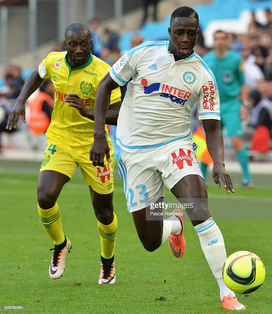 <a gi-track='captionPersonalityLinkClicked' href=/galleries/search?phrase=Benjamin+Mendy&family=editorial&specificpeople=7029850 ng-click='$event.stopPropagation()'>Benjamin Mendy</a> from Marseille in action during the game between Olympique de Marseille v FC Nantes at Stade Velodrome on April 24, 2016 in Marseille, France.
