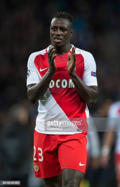 Benjamin Mendy of AS Monaco applauds the fans after the UEFA Champions League Round of 16 first leg match between Manchester City FC and AS Monaco at...