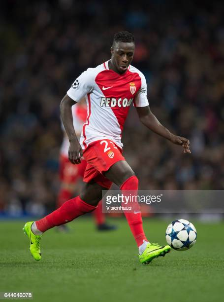 Benjamin Mendy of AS Monaco in action during the UEFA Champions League Round of 16 first leg match between Manchester City FC and AS Monaco at Etihad...