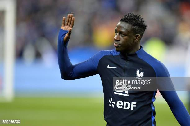 Benjamin Mendy of France reacts during warmup before the international friendly match between France and Spain at Stade de France on March 28 2017 in...