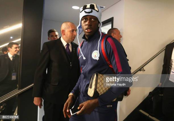 Benjamin Mendy of Manchester City arrives at the stadium prior to the Premier League match between Manchester City and Crystal Palace at Etihad...
