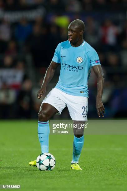 Benjamin Mendy of Manchester City controls the ball during the UEFA Champions League match between Feyenoord Rotterdam and Manchester City at Stadion...
