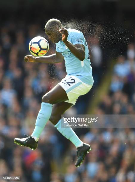Benjamin Mendy of Manchester City in action during the Premier League match between Manchester City and Liverpool at Etihad Stadium on September 9...