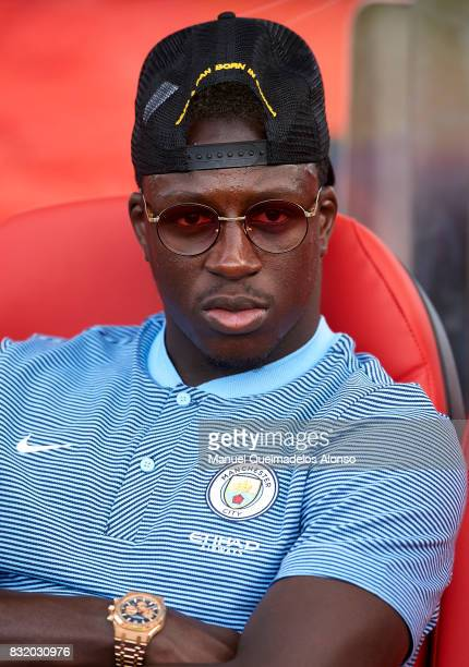 Benjamin Mendy of Manchester City looks on prior to the preseason friendly match between Girona and Manchester City at Municipal de Montilivi Stadium...