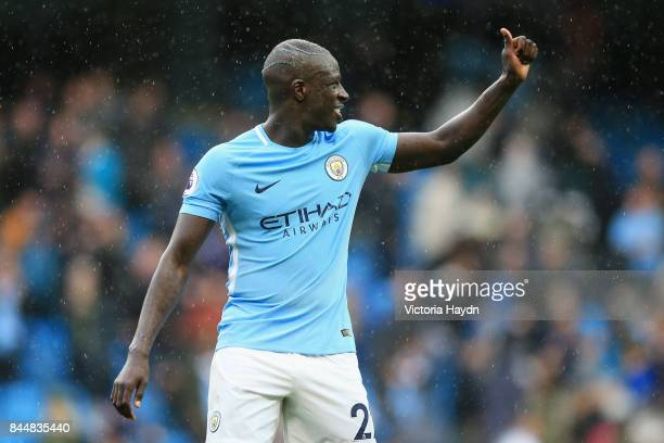 Benjamin Mendy of Manchester City shows appreciation to the fans after the Premier League match between Manchester City and Liverpool at Etihad...
