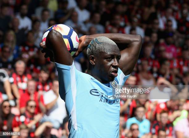 Benjamin Mendy of Manchester City takes a throw in during the Premier League match between AFC Bournemouth and Manchester City at Vitality Stadium on...
