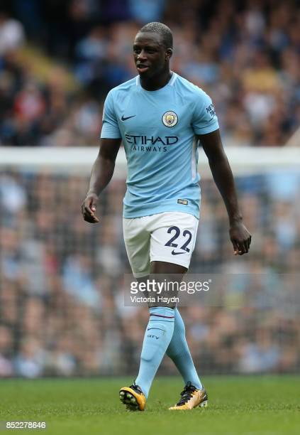 Benjamin Mendy of Manchester City walks off during the Premier League match between Manchester City and Crystal Palace at Etihad Stadium on September...