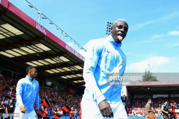 Benjamin Mendy of Manchester City walks out prior to the Premier League match between AFC Bournemouth and Manchester City at Vitality Stadium on...