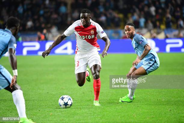 Benjamin Mendy of Monaco beats Raheem Stirling of Manchester City during the Uefa Champions League match between As Monaco and Manchester City round...