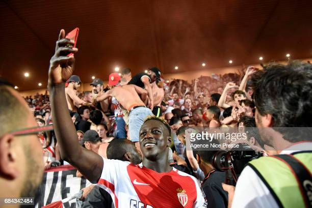 Benjamin Mendy of Monaco celebrate winning the Ligue 1 title after the final whistle of the Ligue 1 match between As Monaco and AS Saint Etienne at...