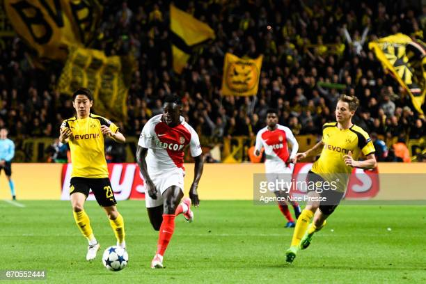 Benjamin Mendy of Monaco during the Uefa Champions League quarter final second leg match between As Monaco and Borussia Dortmund at Stade Louis II on...