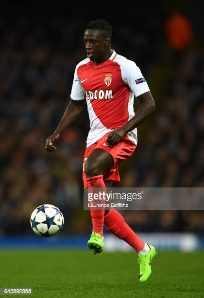 Benjamin Mendy of Monaco in action during the UEFA Champions League Round of 16 first leg match between Manchester City FC and AS Monaco at Etihad...