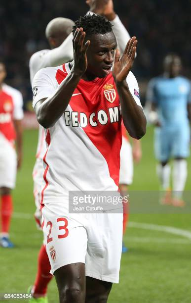 Benjamin Mendy of Monaco thanks the supporters during the UEFA Champions League Round of 16 second leg match between AS Monaco and Manchester City FC...