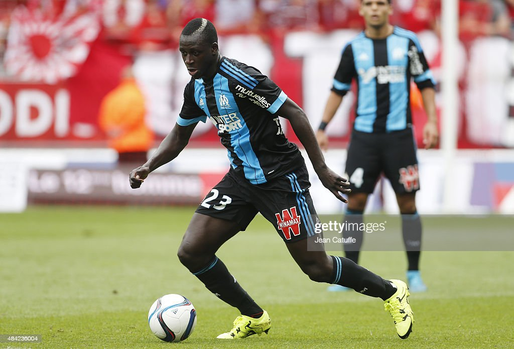 <a gi-track='captionPersonalityLinkClicked' href=/galleries/search?phrase=Benjamin+Mendy&family=editorial&specificpeople=7029850 ng-click='$event.stopPropagation()'>Benjamin Mendy</a> of Olympique de Marseille in action during the French Ligue 1 match between Stade de Reims and Olympique de Marseille (OM) at Stade Auguste Delaune on August 16, 2015 in Reims, France.