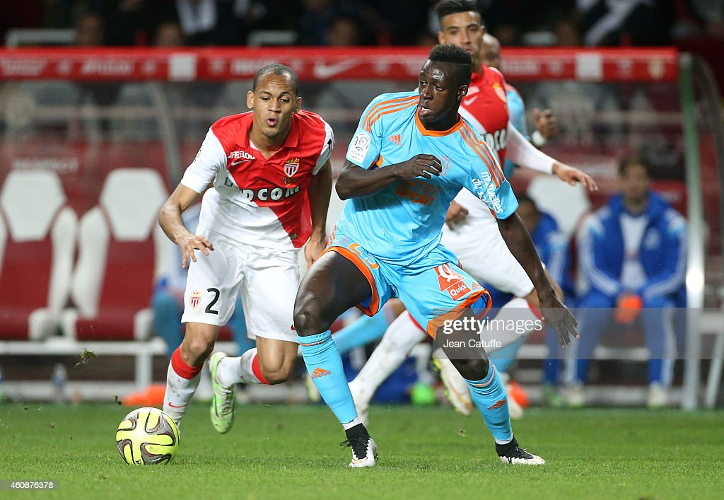 <a gi-track='captionPersonalityLinkClicked' href=/galleries/search?phrase=Benjamin+Mendy&family=editorial&specificpeople=7029850 ng-click='$event.stopPropagation()'>Benjamin Mendy</a> of OM and Fabio Tavares of Monaco (left) in action during the French Ligue 1 match between AS Monaco FC v Olympique de Marseille OM at Stade Louis II on December 14, 2014 in Monaco.