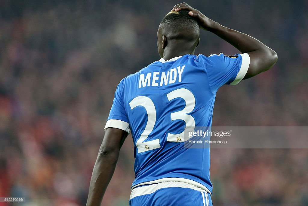 <a gi-track='captionPersonalityLinkClicked' href=/galleries/search?phrase=Benjamin+Mendy&family=editorial&specificpeople=7029850 ng-click='$event.stopPropagation()'>Benjamin Mendy</a> reacts during the UEFA Europa League Football round of 32 second leg match between Athletic Bilbao and Olympique de Marseille at San Mames on February 25, 2016 in Bilbao, Spain.