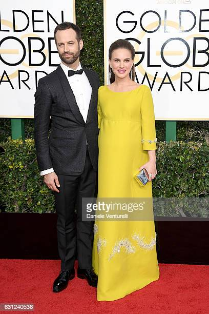 Benjamin Millepied and Natalie Portman attend the 74th Annual Golden Globe Awards at The Beverly Hilton Hotel on January 8 2017 in Beverly Hills...