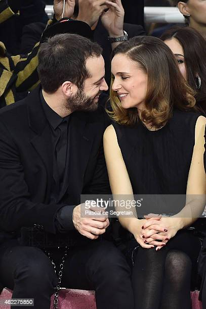 Benjamin Millepied and Natalie Portman attend the Christian Dior show as part of Paris Fashion Week Haute Couture Spring/Summer 2015 on January 26...