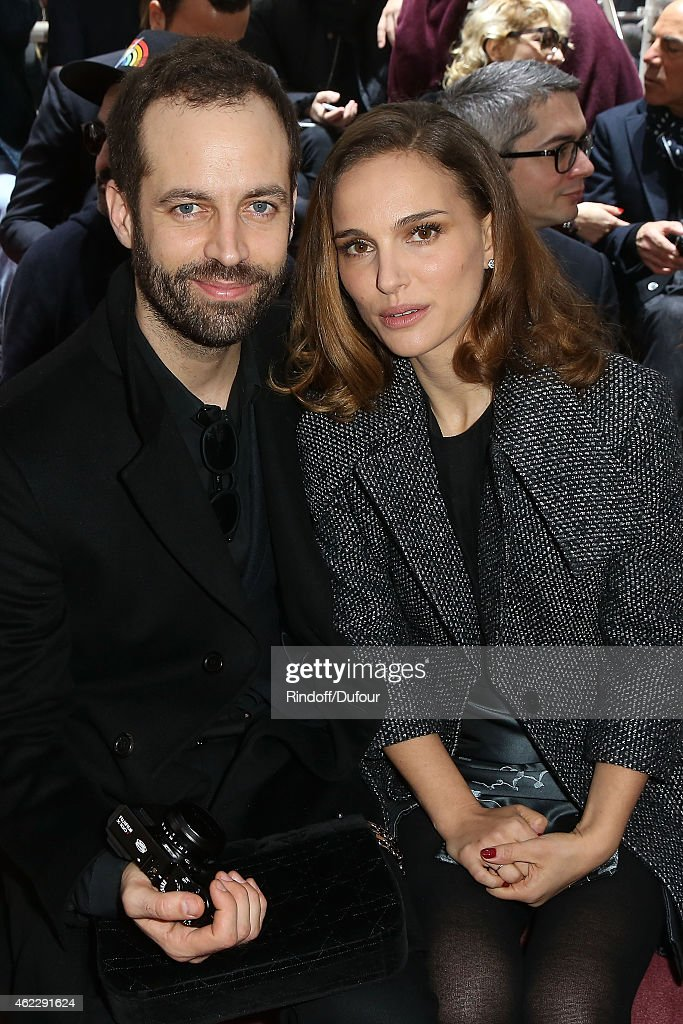 Benjamin Millepieds and Natalie Portman attend the Christian Dior show as part of Paris Fashion Week Haute Couture Spring/Summer 2015 on January 26, 2015 in Paris, France.