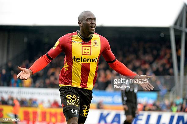 Benjamin Mokulu of KV Mechelen celebrates scoring a goal during the Jupiler League match between KV Mechelen and RSC Anderlecht on January 19 2014 in...