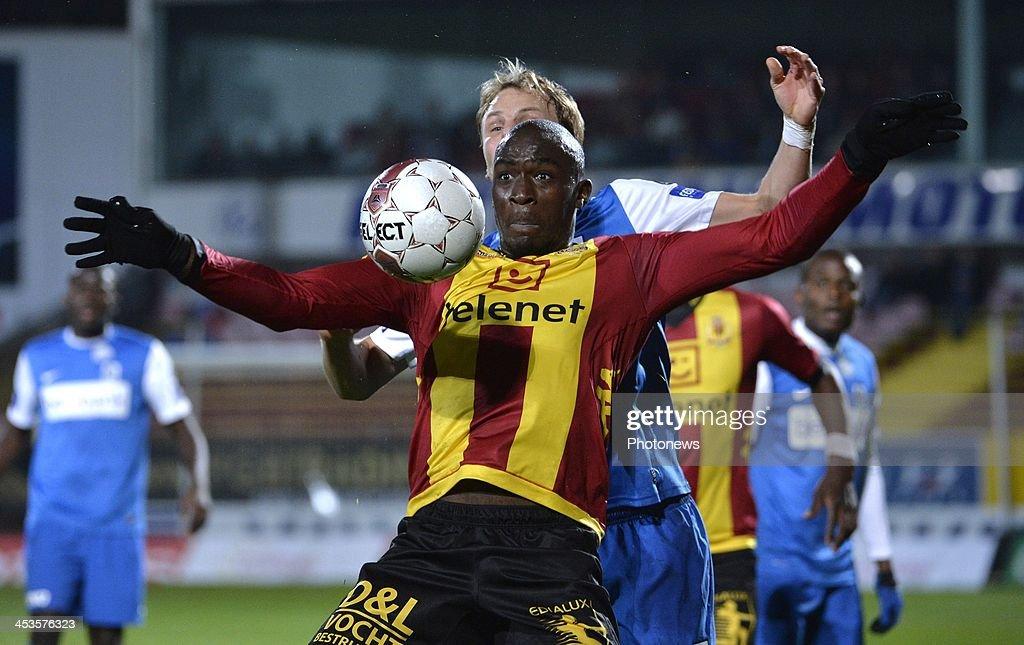 Benjamin Mokulu of Mechelen and Julien Gorius of Krc Genk in action during the Belgian Cup match between KV Mechelen and KRC Genk on December 4 2013...
