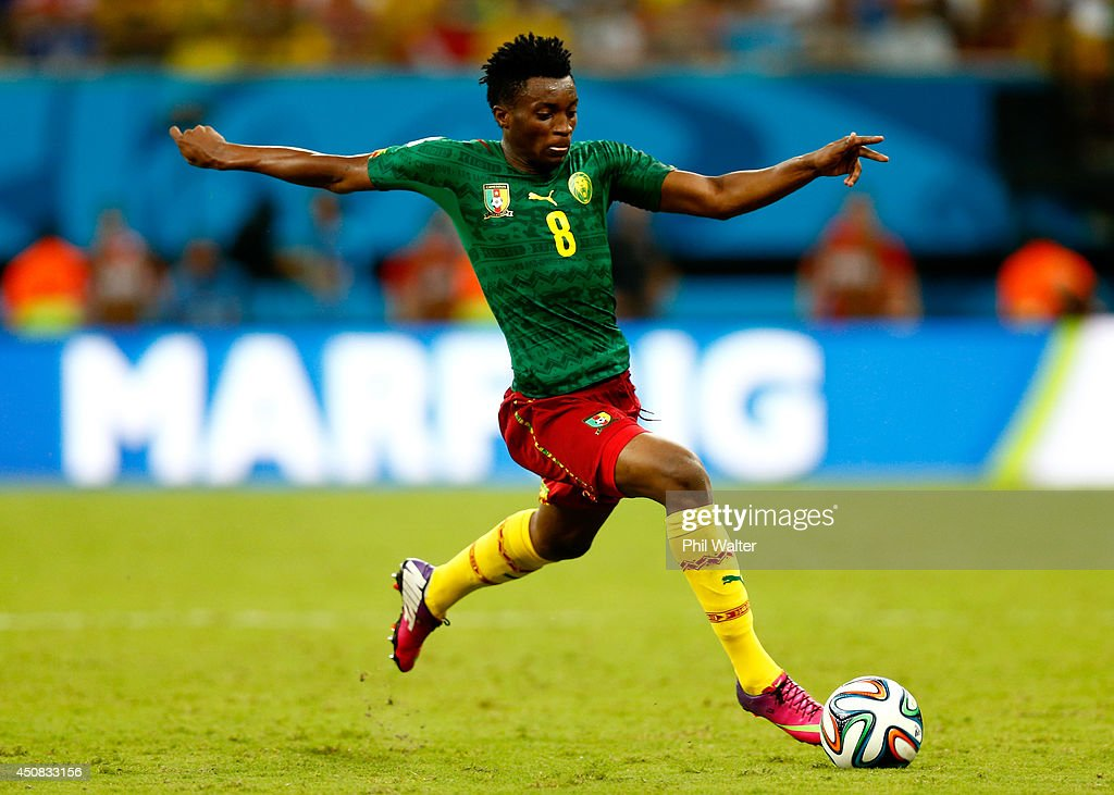 <a gi-track='captionPersonalityLinkClicked' href=/galleries/search?phrase=Benjamin+Moukandjo&family=editorial&specificpeople=7470600 ng-click='$event.stopPropagation()'>Benjamin Moukandjo</a> of Cameroon controls the ball during the 2014 FIFA World Cup Brazil Group A match between Cameroon and Croatia at Arena Amazonia on June 18, 2014 in Manaus, Brazil.