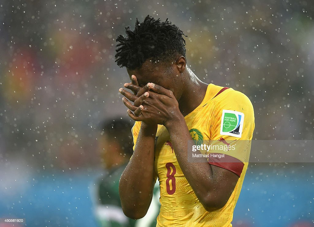 <a gi-track='captionPersonalityLinkClicked' href=/galleries/search?phrase=Benjamin+Moukandjo&family=editorial&specificpeople=7470600 ng-click='$event.stopPropagation()'>Benjamin Moukandjo</a> of Cameroon reacts after a missed chance late in the game during the 2014 FIFA World Cup Brazil Group A match between Mexico and Cameroon at Estadio das Dunas on June 13, 2014 in Natal, Brazil.