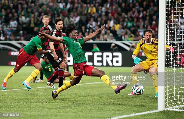 Benjamin Moukandjo of Cameroon scores a goal during the International Friendly match between Germany and Cameroon at Borussia Park Stadium on June 1...